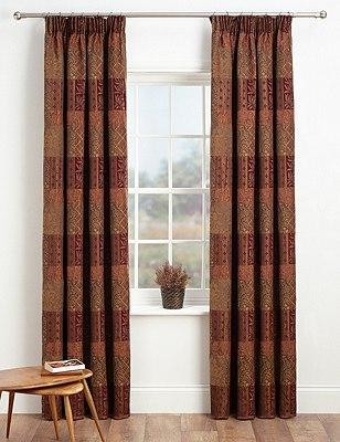 Patch Jacquard Pencil Pleat Curtains, BURGUNDY MIX, catlanding