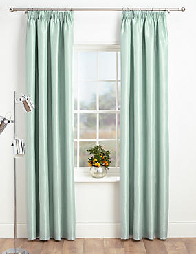 Faux Silk Pencil Pleat Black-Out Curtains, DUCK EGG, catlanding