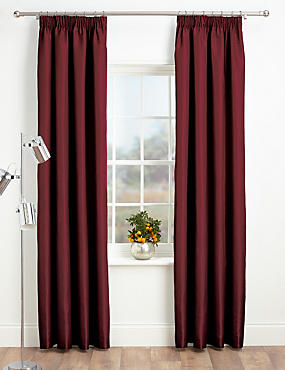 Faux Silk Pencil Pleat Black-Out Curtains, BERRY, catlanding