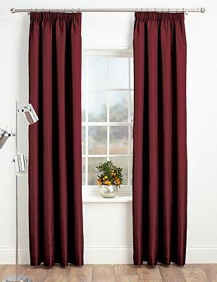 Faux Silk Pencil Pleat Black-Out Curtains, BERRY, catlanding