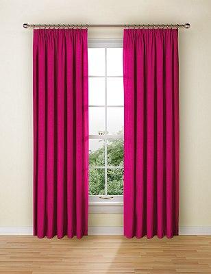 Faux Silk Pencil Pleat Black-Out Curtains, FUCHSIA, catlanding