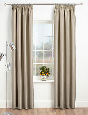 Faux Silk Pencil Pleat Black-Out Curtains, OATMEAL, catlanding