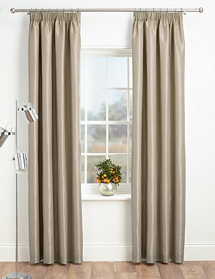 Faux Silk Pencil Pleat Black-Out Curtains, OATMEAL, catlanding