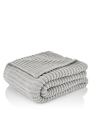 Chenille Knitted Throw, GREY, catlanding
