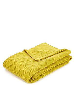 Diamond Knitted Throw, , catlanding
