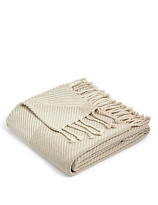 Wide Striped Throw, NEUTRAL, catlanding
