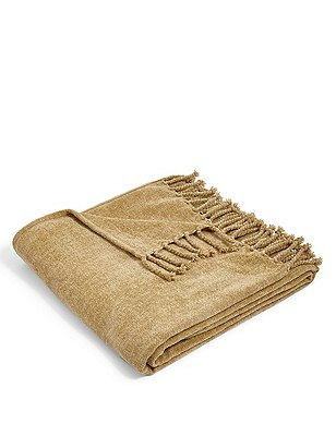 Plain Chenille Throw, ANTIQUE GOLD, catlanding