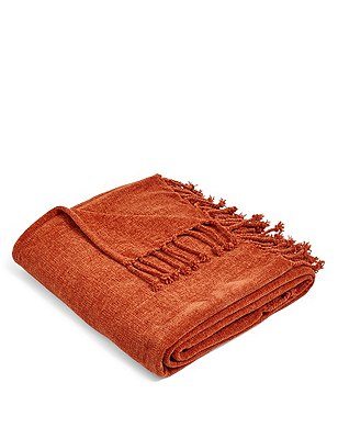 Plain Chenille Throw, TERRACOTTA, catlanding
