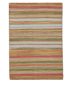 Rebecca Striped Rug, RED MIX, catlanding