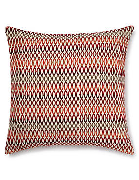 Geo Chenille Cushion, RED MIX, catlanding