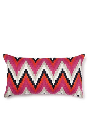 Chevron Embroidered Cushion, PINK MIX, catlanding