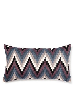 Chevron Embroidered Cushion, GREY MIX, catlanding
