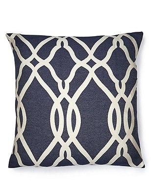 Large Geometric Print Cushion, NAVY MIX, catlanding