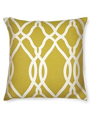 Large Geometric Print Cushion, OCHRE, catlanding
