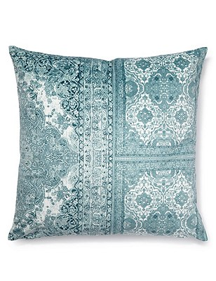 Floral & Tile Print Cushion, DUCK EGG, catlanding