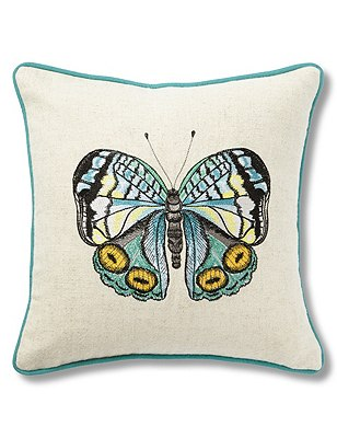 Mini Embroidered Butterfly Cushion, , catlanding