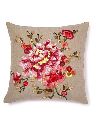 Embroidered Cushion, PINK MIX, catlanding