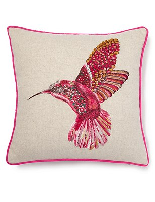 Embroidered Humming Bird Cushion, , catlanding