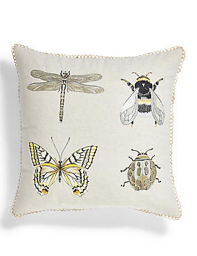 Insect Embroidered Cushion, , catlanding