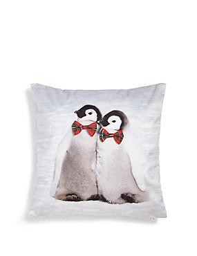 Twin Penguins Cushion, , catlanding