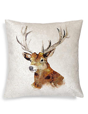 Stag Print Cushion, , catlanding