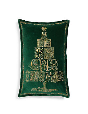 Merry Xmas Embroidered Cushion, , catlanding
