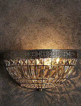 Gem Ball Flush Wall Light, ANTIQUE BRASS, catlanding