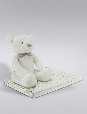 Bear Soft Toy & Star Blanket Set