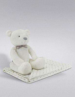 Bear Soft Toy & Star Blanket Set, , catlanding