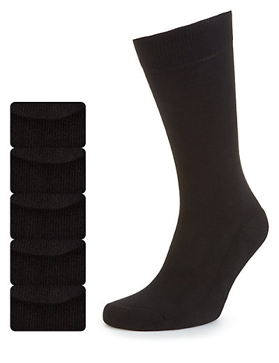 5 Pairs of Freshfeet™ Cotton Rich Cushioned Sole Socks with Silver Technology Clothing