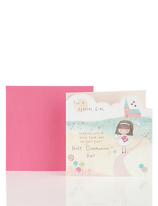 Cute Pink Special Girl Communion Card Home