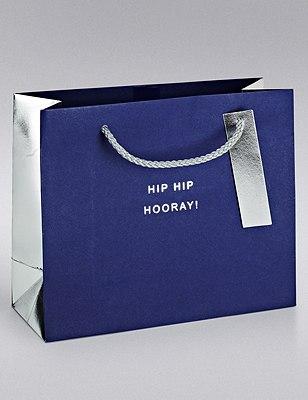 Navy & Silver Medium Gift Bag, , catlanding