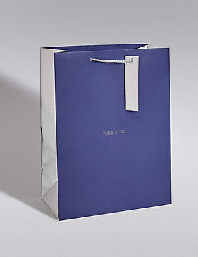 Navy & Silver Large Gift Bag, NO COLOUR, catlanding