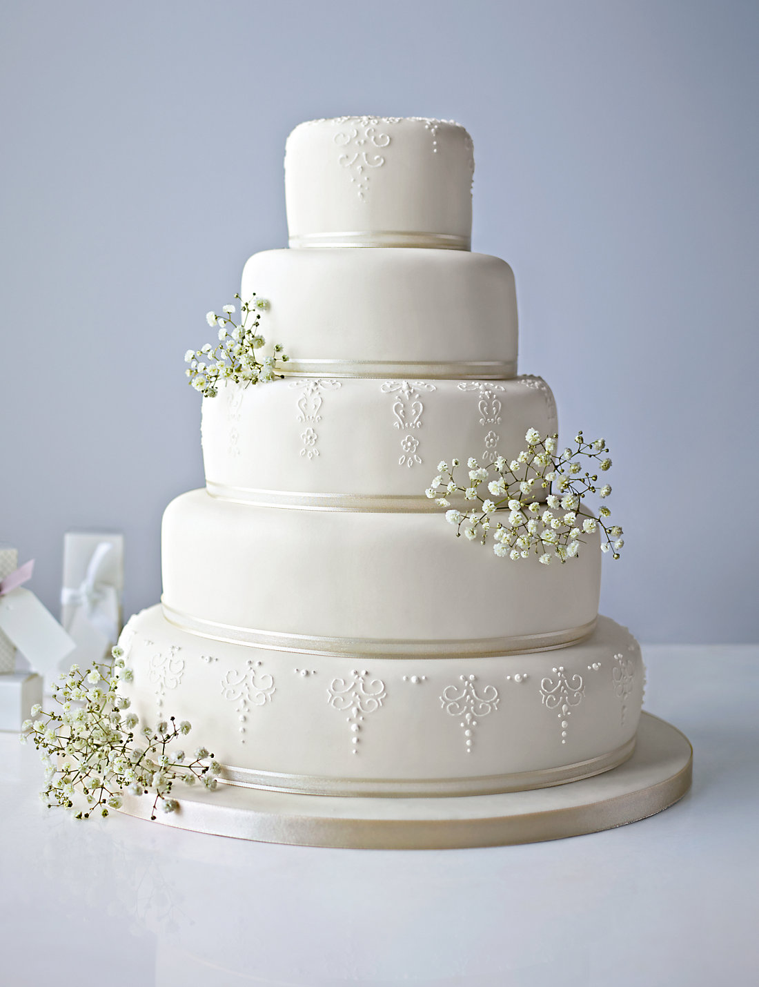 5 Tier White Embroidered Lace Cake Available To Order Until 31st January 2017