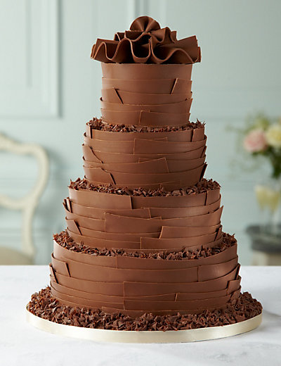 Milk Chocolate Ribbons Wedding Cake Cakes Mouse Over To Zoom