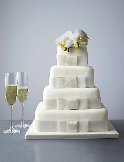 4 Tier Elegant Assorted Wedding Cake with Chocolate | M&S