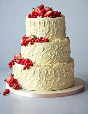 3 Tier White Chocolate Swirl Wedding Cake