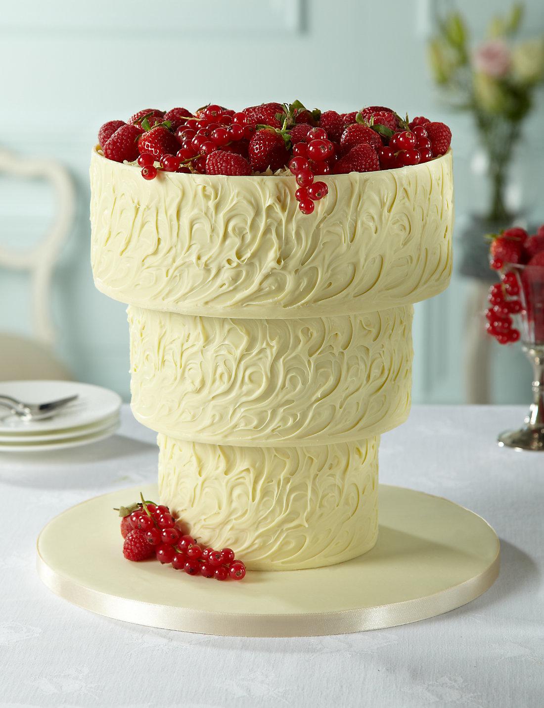 Upside Down White Chocolate Swirl Wedding Cake