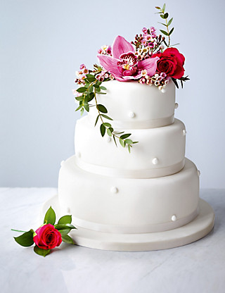 Romantic Pearl Gluten Free Fruit Wedding Cake (White Icing) Cakes