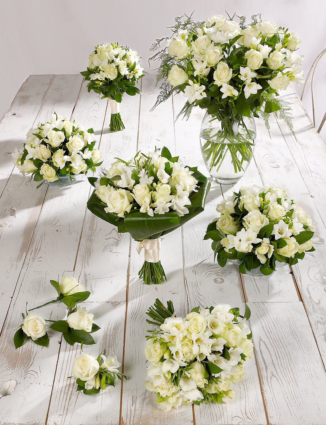 White Rose Freesia Wedding Flowers
