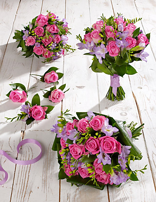 Pink & Lilac Rose & Freesia Wedding Flowers - Collection 2 Food