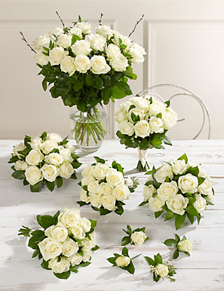 Creamy-white Luxury Rose Wedding Flowers - Collection 4 Food