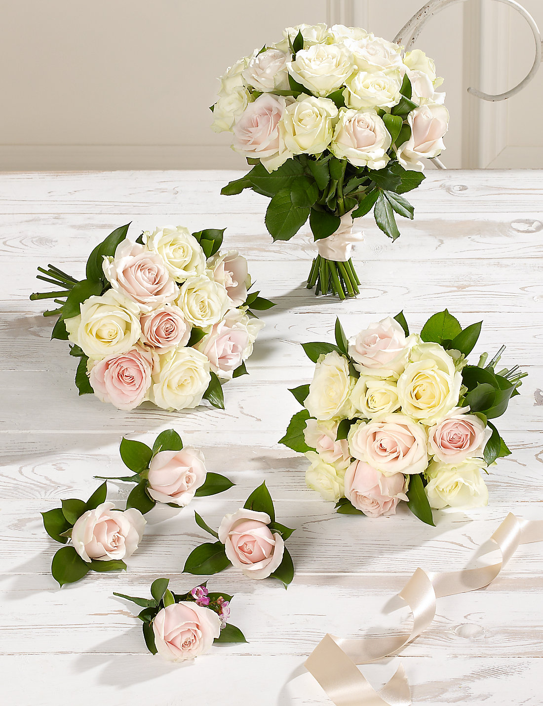 White Pink Luxury Rose Wedding Flowers