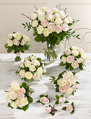 Pink & White Luxury Rose Wedding Flowers - Collection 4 Food