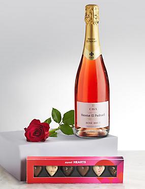 Valentine's Bubbles, Heart Chocolates & Single Stem Rose