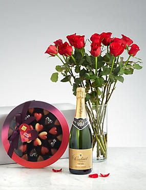 Valentine's Champagne, 12 Roses & Chocolate Gift