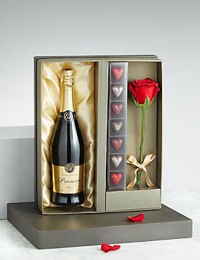Valentine's Prosecco, Heart Chocolates & Single Stem Rose Gift Box