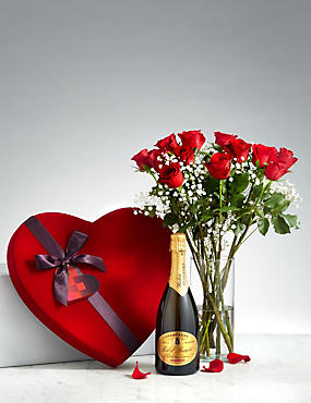 Luxury Valentine's Gift with Champagne, 12 Red Roses & Velvet Heart Box