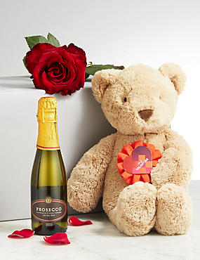 Valentine's Spencer Bear, Bubbles & Rose Gift