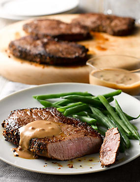 4 Rump Steak with Peppercorn Sauce